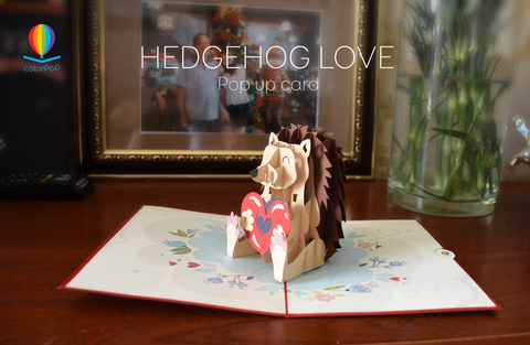 Hedgehog love pop up card mothers day