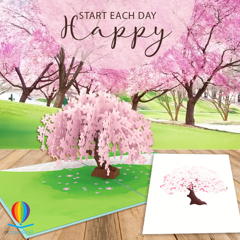 Pop Up 50th Birthday Card cherry blossom