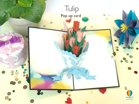 Pop Up 50th Birthday Card tulip