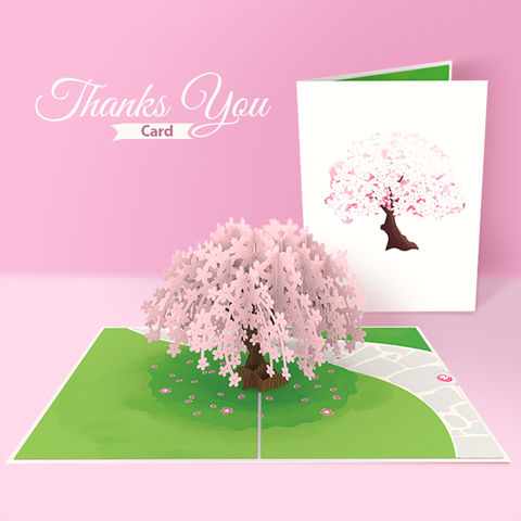 cherry blossom pop up card thank you