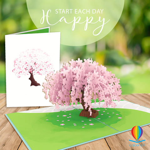 Handwritten 3D Pop Up Card Cherry Blossom pop up card