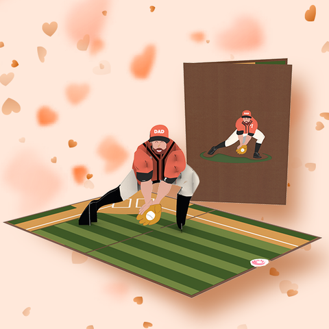 playing baseball with dad pop up card