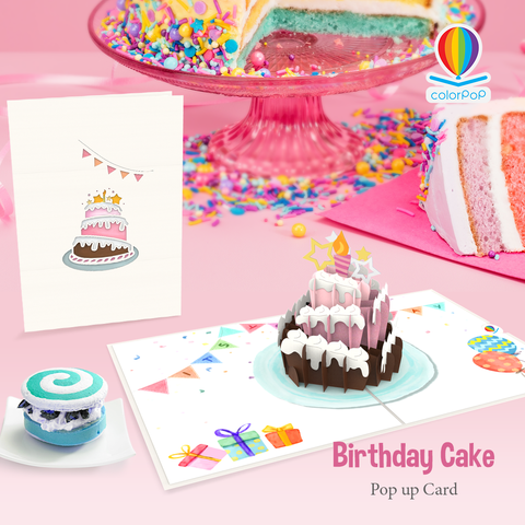 pop up Birthday Card template cake