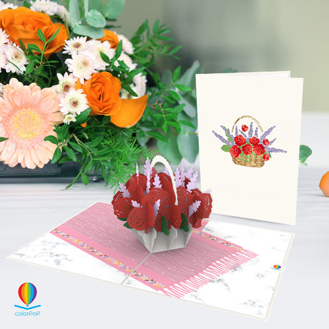rose basket pop up card birthday