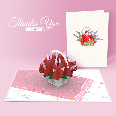 rose pop up card thank you
