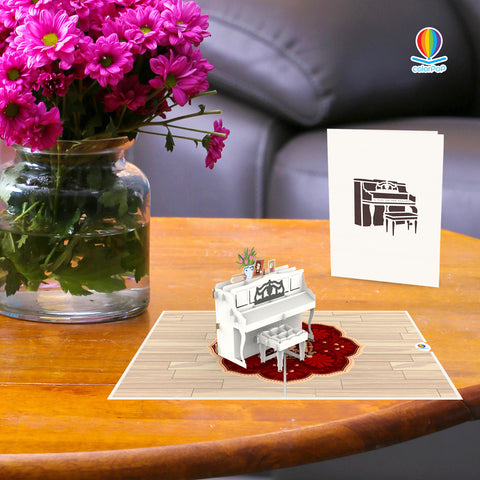 white piano pop up card