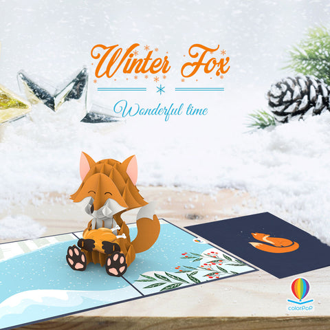 winter fox pop up card