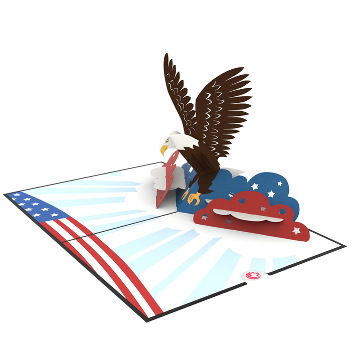 Bald Eagle pop up card model unipop