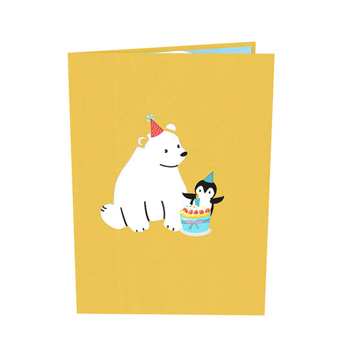 Bear and Penguin Birthday Pop Up Card