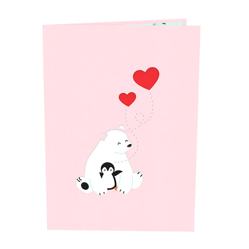 Bear and Penguin Valentine Pop Up Card
