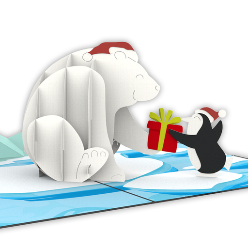 Bear And Penguins Pop Up Card
