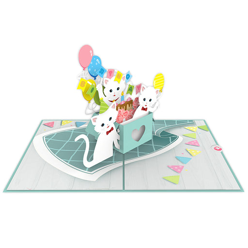 Cats Birthday Party Pop Up Card