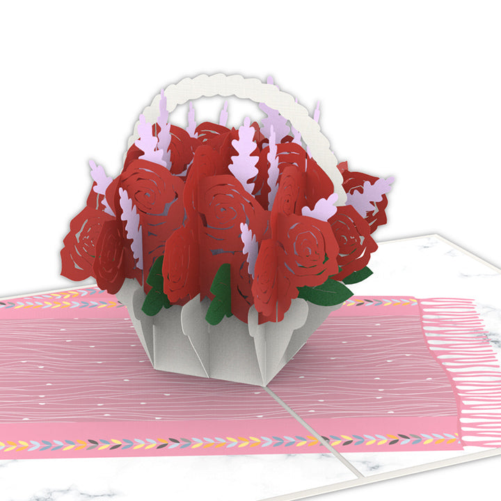 Rose Basket Pop Up Card
