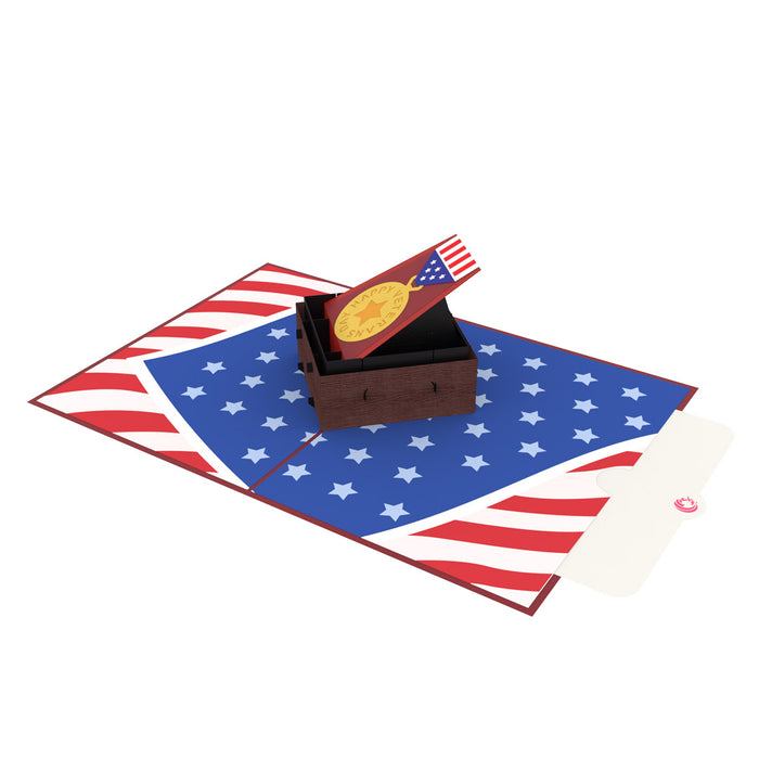 Happy veterans day pop up card note