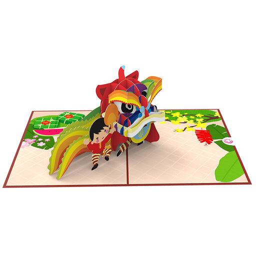 Lunar New Year Lion Dance Pop up card