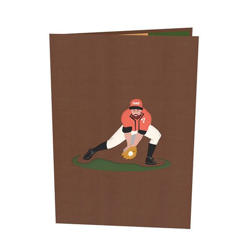 Playing Baseball with Dad pop up card Outside