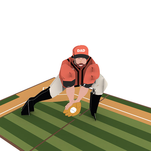 Playing Baseball with Dad pop up card model unipop