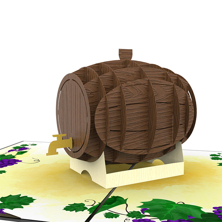 Wine Barrel Pop Up Card