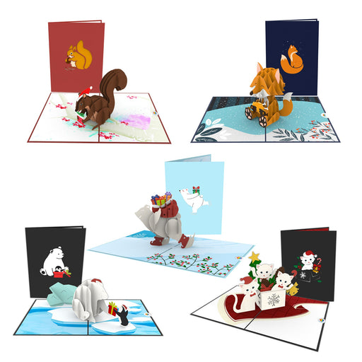 lovely animals Christmas pop up cards