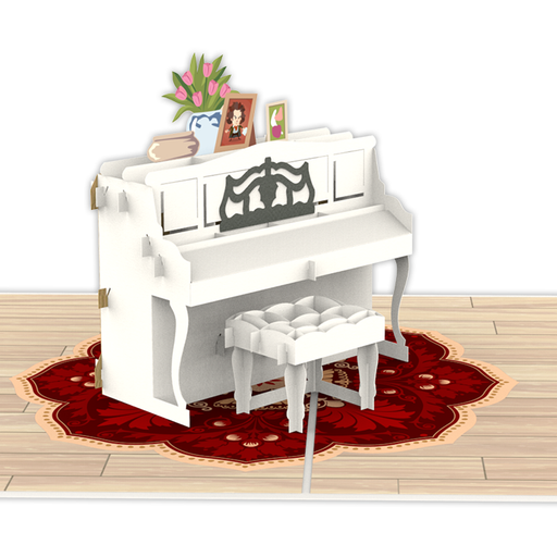 Piano White Pop up card Model Unipop