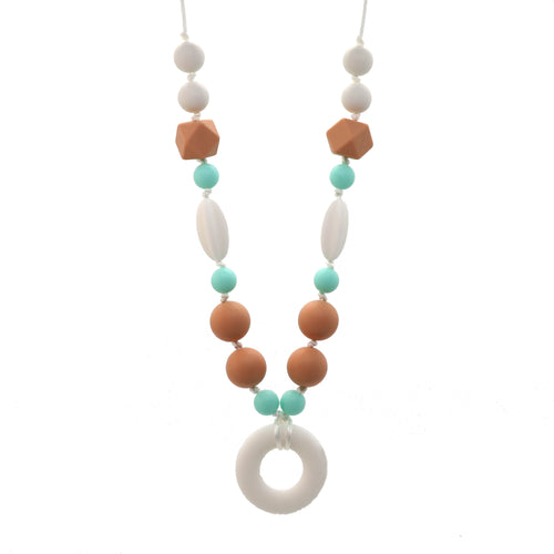 Beige & Green Nursing Necklace with Donut Pendant