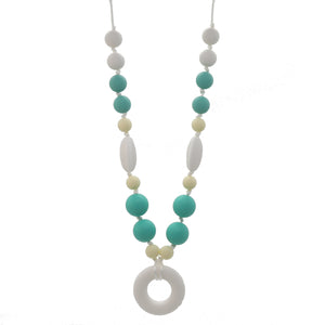 Green & Yellow Nursing Necklace with Donut Pendant