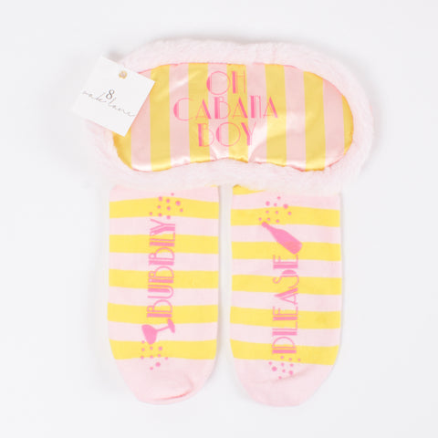 Sock & Sleep Mask Set - yellow/pink