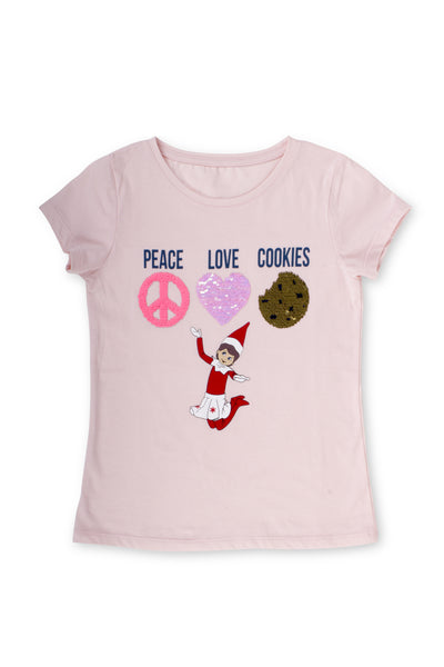 Elf on the Shelf Peace, Love, Cookies Sequin Tee