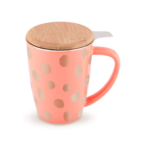 Pinky Up Bailey Peach and Copper Ceramic Tea Mug and Infuser