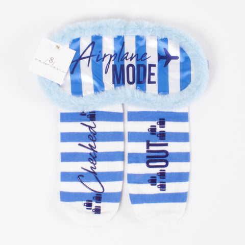 Sock & Sleep Mask Set - Blue/White