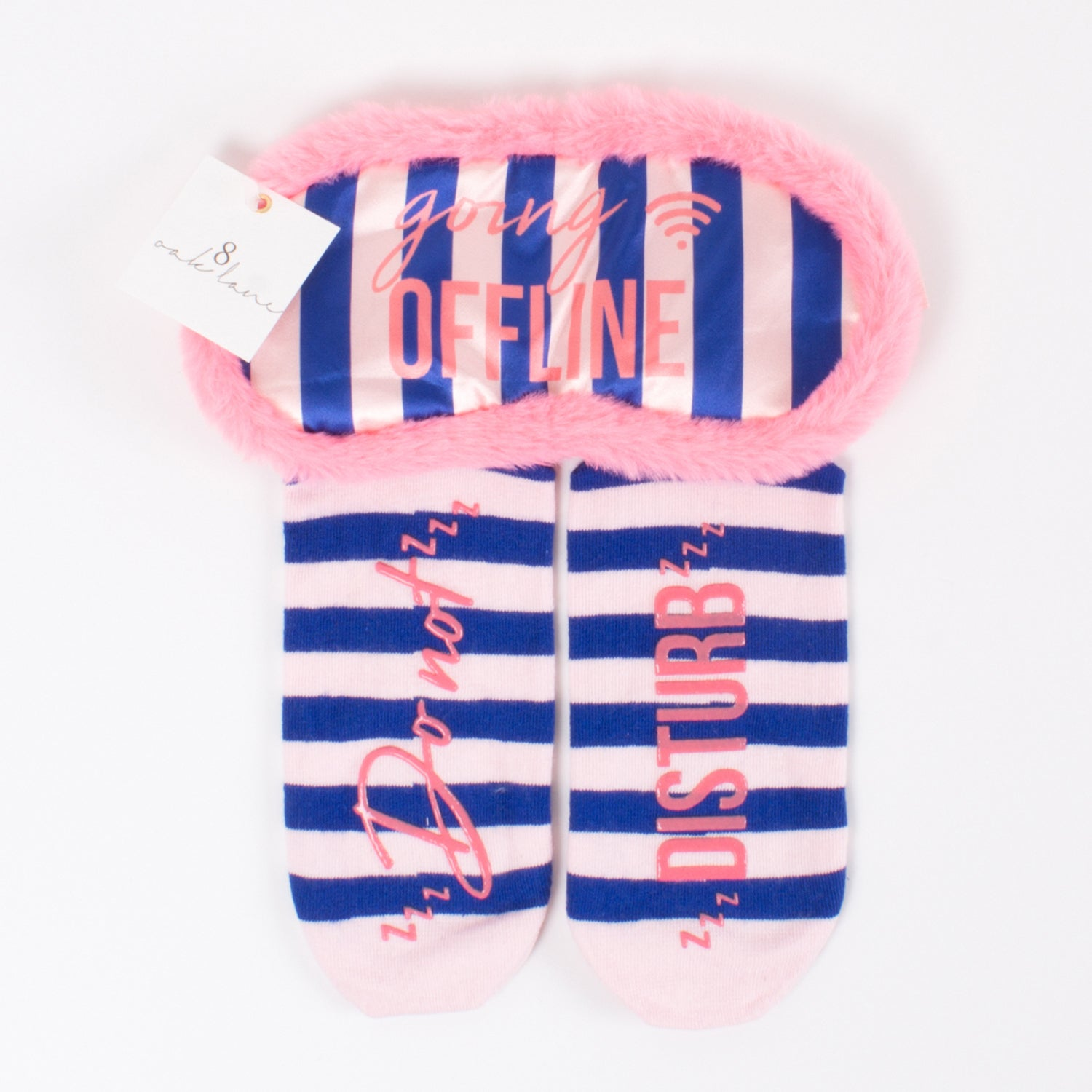 Sock & Sleep Mask Set - Navy/pink