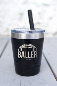 FOOTBALL BALLER  KIDS  LASER ETCHED TUMBLER