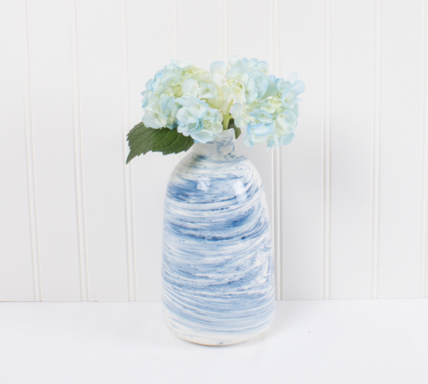 Small Blue Marble Vase