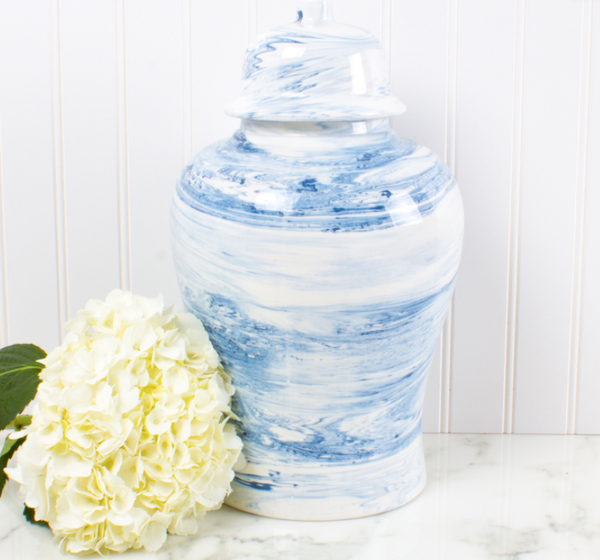 Blue Swirl Ginger Jar