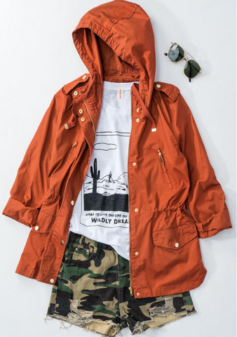Anorak Hooded Parka in Fiesta