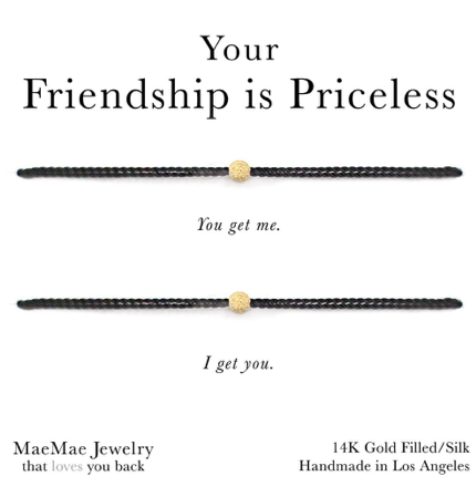 Your Friendship is Priceless Black Cord Bracelet Set