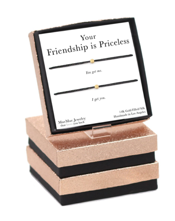 Your Friendship is Priceless Beige Cord Bracelet Set