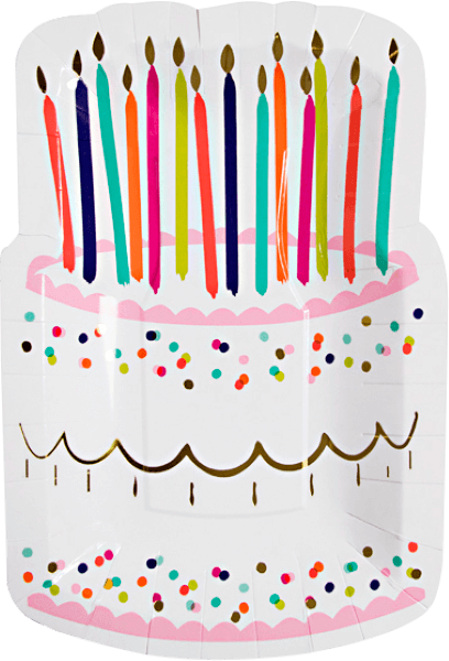 Birthday Cake Shaped Plates - 8 ct.