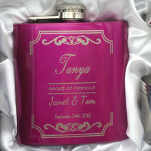 6oz Pink Or Purple Hip Flask With Gift Box And 4 Shot Glass