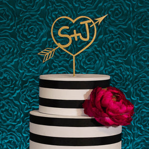 Wedding Heart with Arrow Bride & Groom Initials cake topper