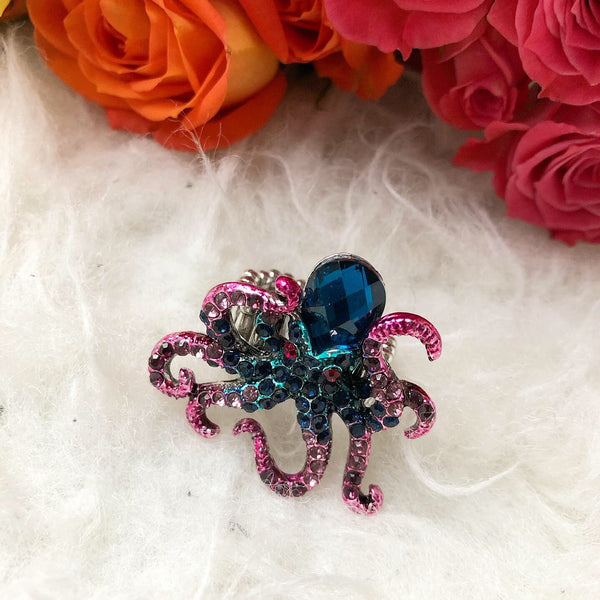 Octopus Rhinestone Statement Ring