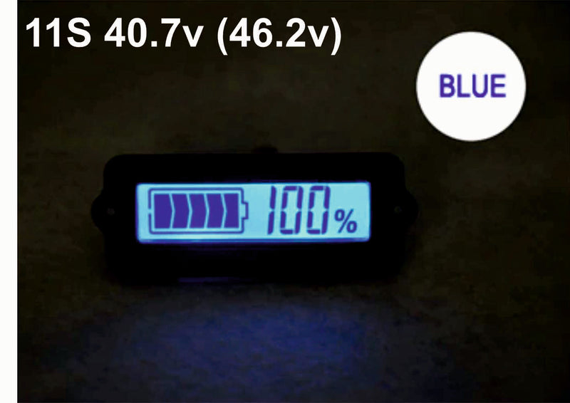 11S 40.7V Blue Lithium-ion Li-ion LiPo Battery Capacity Indicator LCD Display Remaining Detector Meter