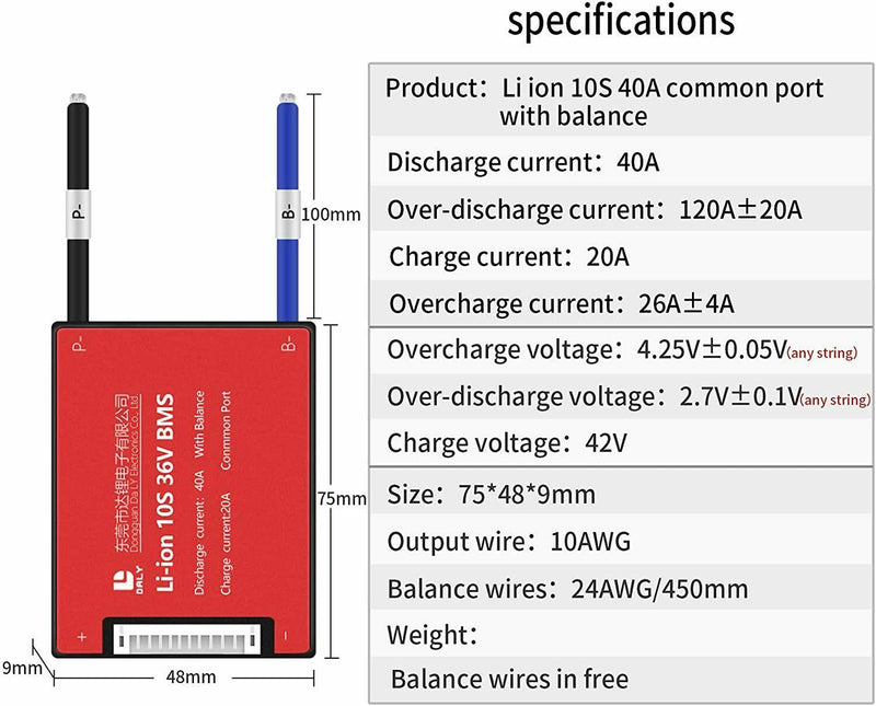 Li-ion BMS PCB 10S 36V 40A Daly Balanced Waterproof Battery Management System UK