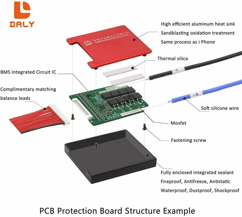 Li-ion BMS PCB 13S 48V 40A Daly Balanced Waterproof Battery Management System UK