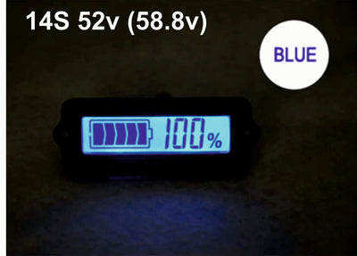 14S 52V Blue Lithium-ion Li-ion LiPo Battery Capacity Indicator LCD Display Remaining Detector Meter