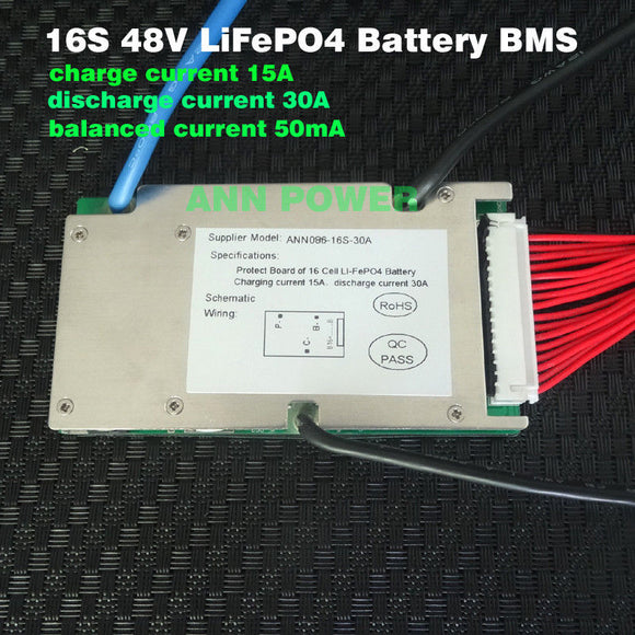 16S 30A 48V BMS LifePO4 Cell Battery ANN PowereBike Balanced UK seller UK stock