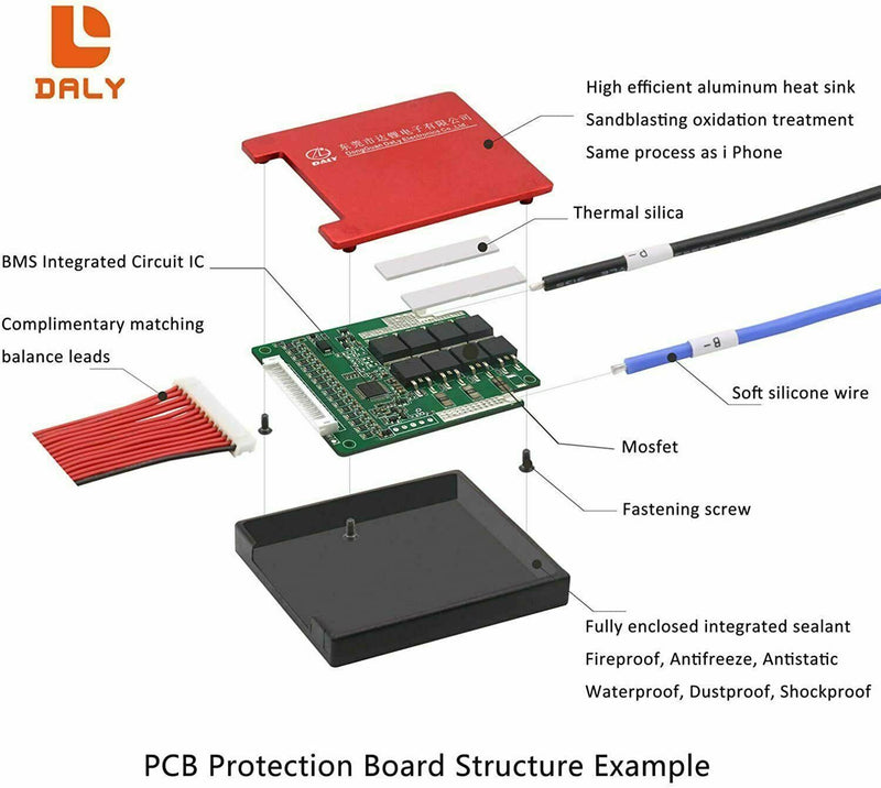 Li-ion BMS PCB 3S 12V 10A Daly Balanced Waterproof Battery Management System UK.