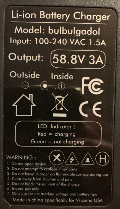 52V (58.8V) 14S Lithium-ion battery charger (3 Amps) UK plug
