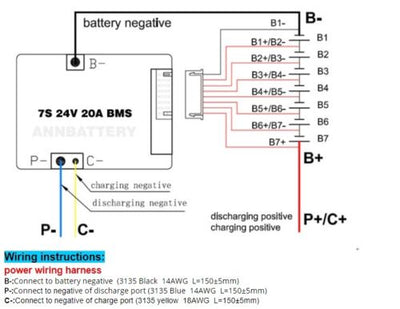 7S 24V 20A BMS Li-ion ANN Battery Ebike E-bike Balancing