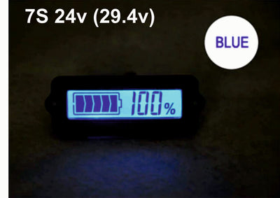 7S 24V Blue Lithium-ion Li-ion LiPo Battery Capacity Indicator LCD Display Remaining Detector Meter